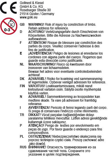 ACHTUNG! Verletzungsgefahr durch Einschnüren von Körperteilen. Nicht für Kinder unter 3 Jahren geeignet.